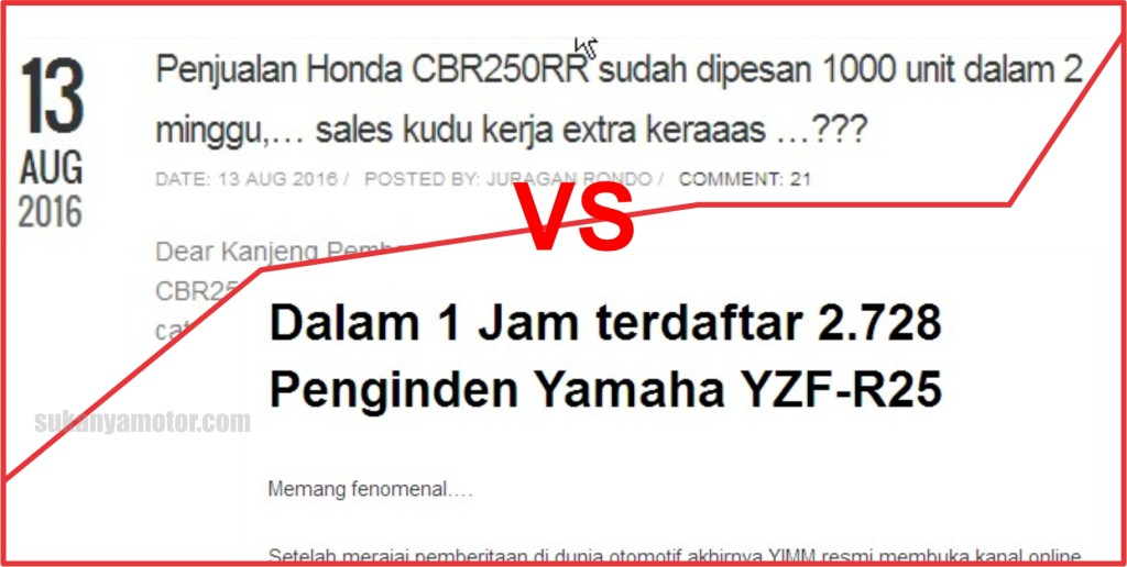 Perbandingan jumlah indent-er Honda CBR250RR vs Yamaha YZF-R25