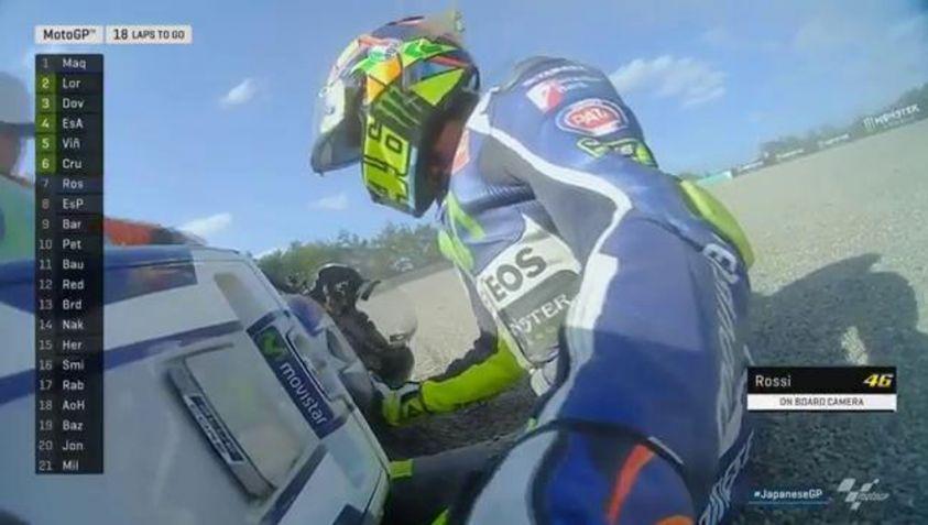 Valentino Rossi Crash di Motegi 2015 disaat ingin mengejar gelarnya yang ke-10