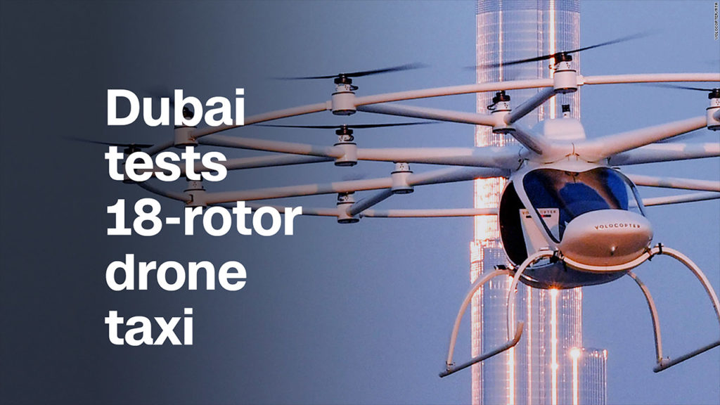 Drone terbang berbaling-baling 18 ini nantinya akan difungsikan sebagai taksi